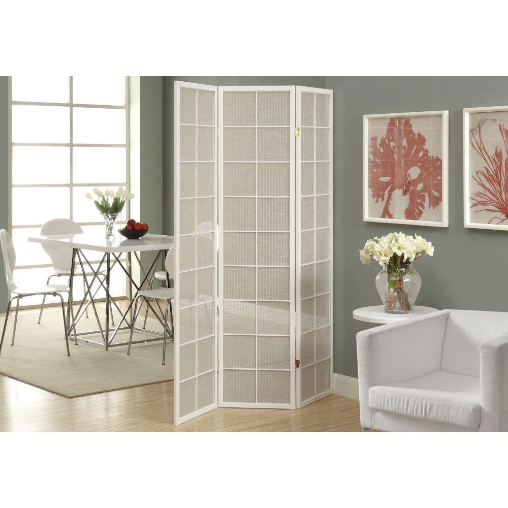 Sabrina White Solid Wood Frame with Fabric Inlays 3 Panels Folding Screen 70.25""