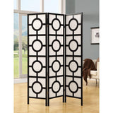 Juliet Black and White Solid Wood 3 Panels Circle Design Folding Screen 70.25""