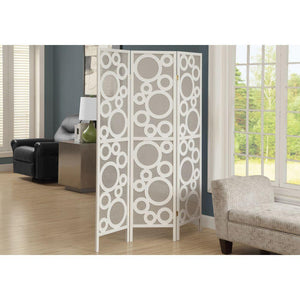 Amber White Solid Wood Frame Bubble Design 3 Panels Folding Screen 70.25""