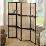 Eliza Cappuccino and Beige Solid Wood and MDF 4 Panels Folding Screen 70.25""