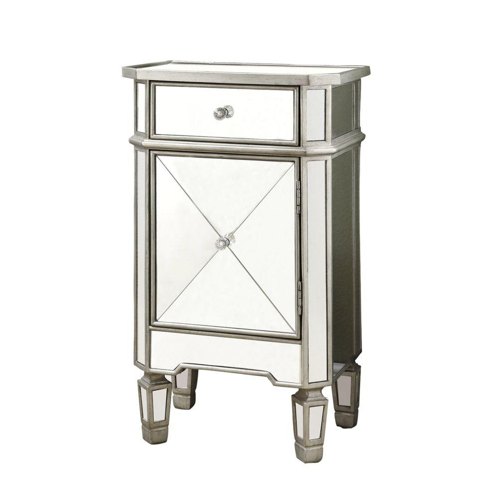 Jasmine Brushed Silver MDF and Solid Wood Accent Chest with a Mirror 30""