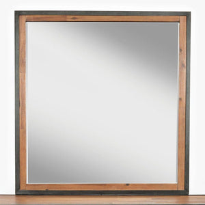 America Transitional Style Wood & Metal Framed Mirror, Brown