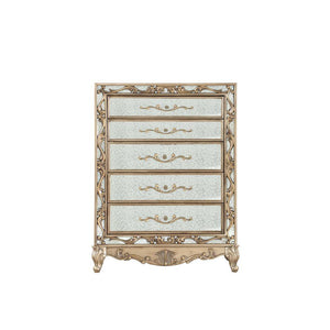 "Amaya Wood and Mirror Chest, Antique Gold 56"" X 19"" X 42"""