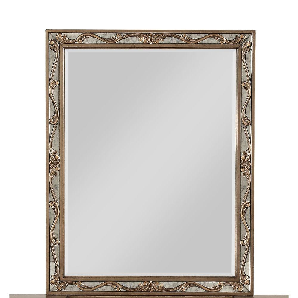 "Piper Wood and Mirror Vanity Mirror, Antique Gold 38"" X 2"" X 30"""