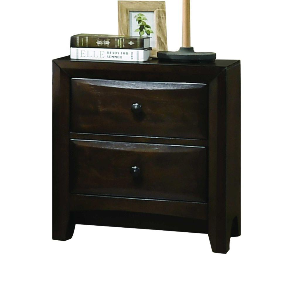 "Layla Wood, Veneer (Wood), and Engineered Wood Nightstand, Walnut 25"" X 17"" X 34"""
