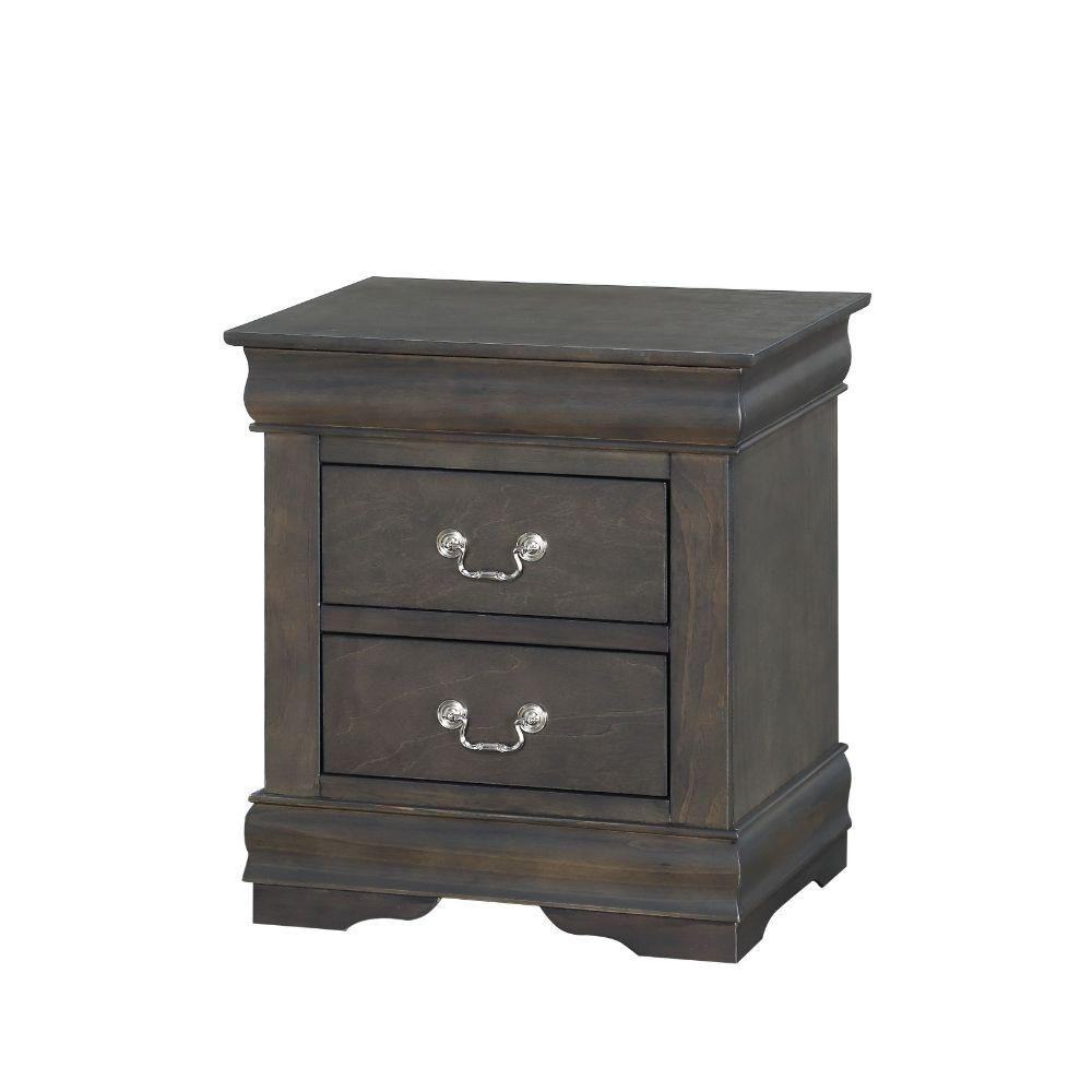 "John Wood, Veneer (Wood), and Engineered Wood Nightstand, Dark Gray 24"" X 15"" X 21"""