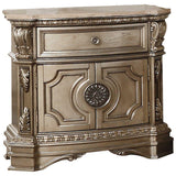 "Katherine Wood, Poly Resin, Veneer (Wood), and Engineered Wood Nightstand w/Marble Top, Antique Champagne 29"" X 18"" X 30"""