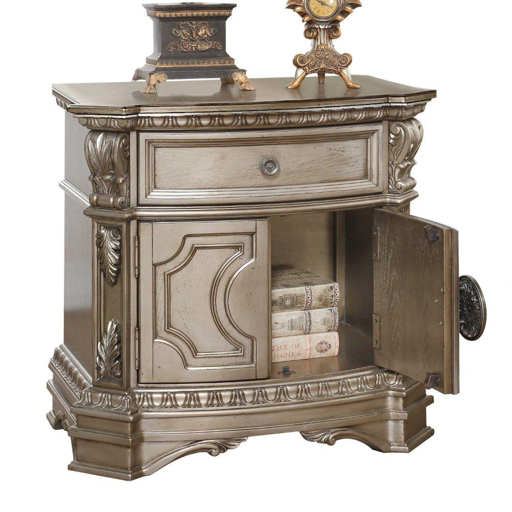 "Lauren Wood, Poly Resin, Veneer (Wood), and Engineered Wood Nightstand w/Wooden Top, Antique Champagne 29"" X 18"" X 30"""