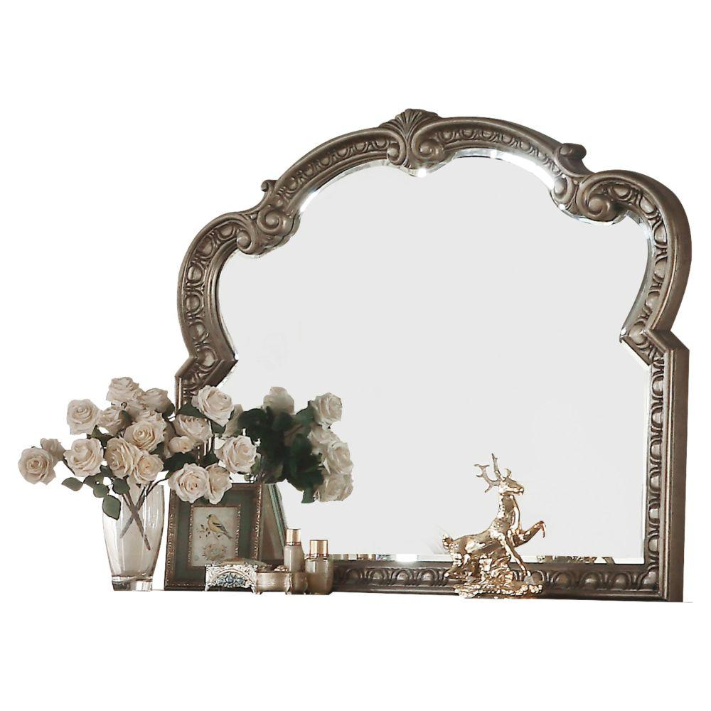 "Izabella Wood, Poly Resin, Veneer (Wood), and Engineered Wood Mirror, Antique Champagne 41"" X 2"" X 48"""