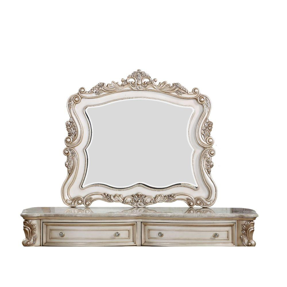 "Valentina Wood, Mirror, Veneer (Wood), and Engineered Wood Mirror, Antique White 44"" X 2"" X 50"""