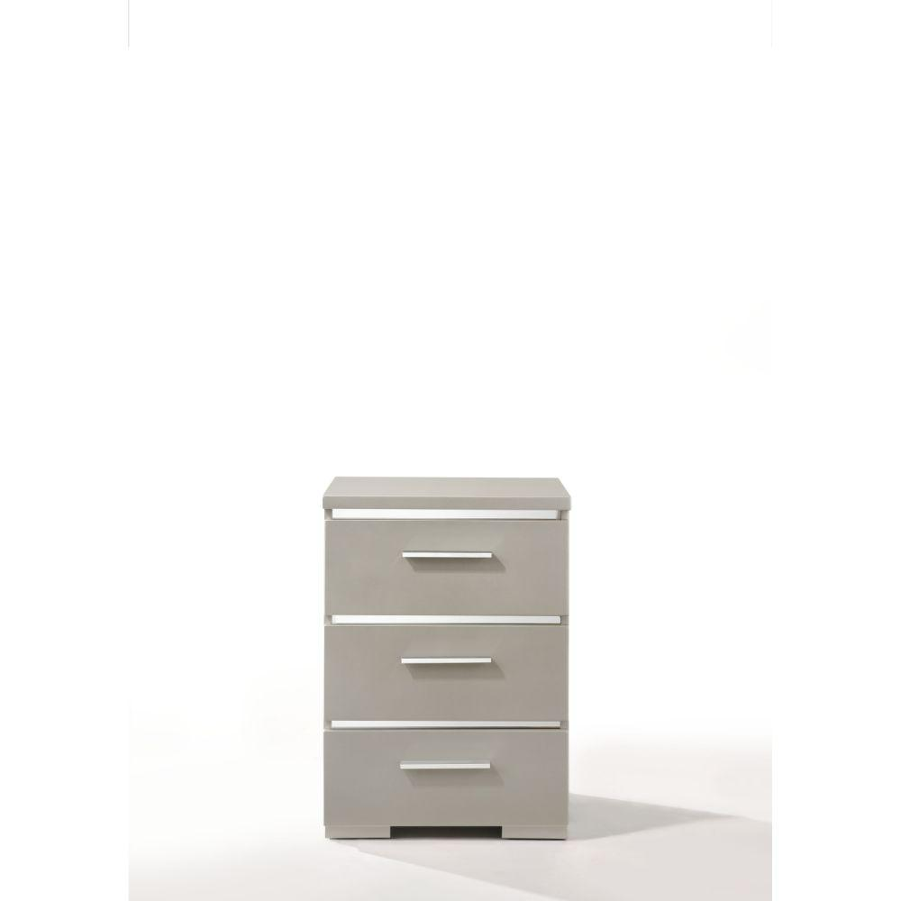 "Zoe Wood, Veneer (Paper), and Engineered Wood Nightstand, Silver 25"" X 15"" X 18"""