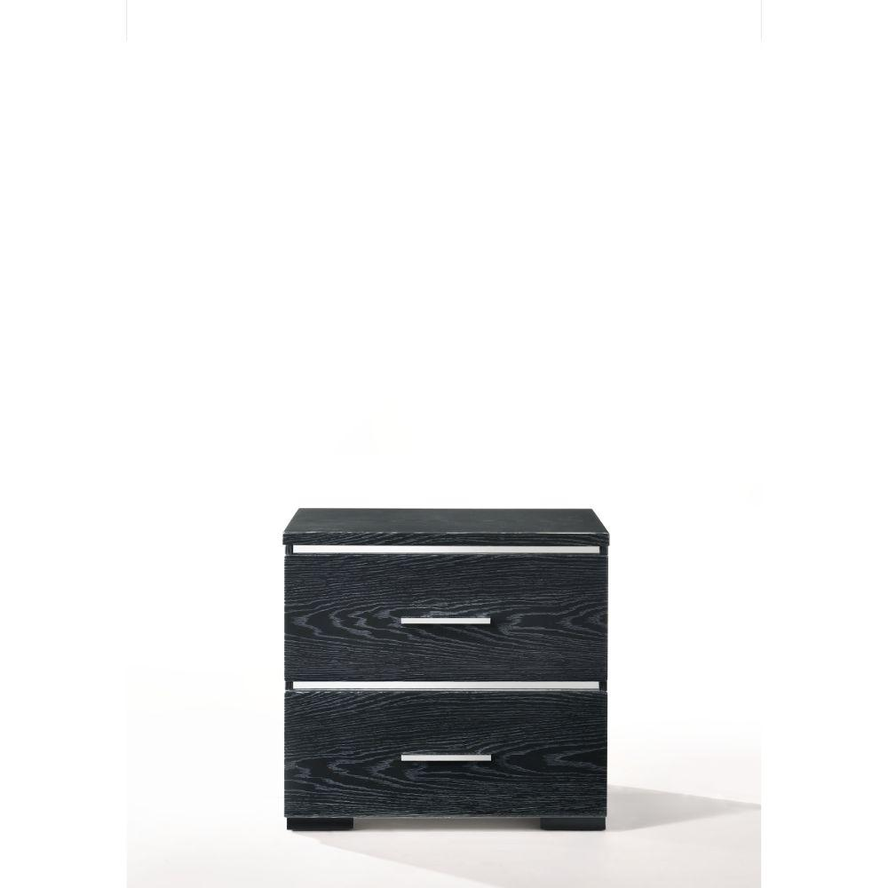 "Liam Wood, Veneer (Paper), and Engineered Wood Nightstand, Black (High Gloss) 23"" X 15"" X 22"""
