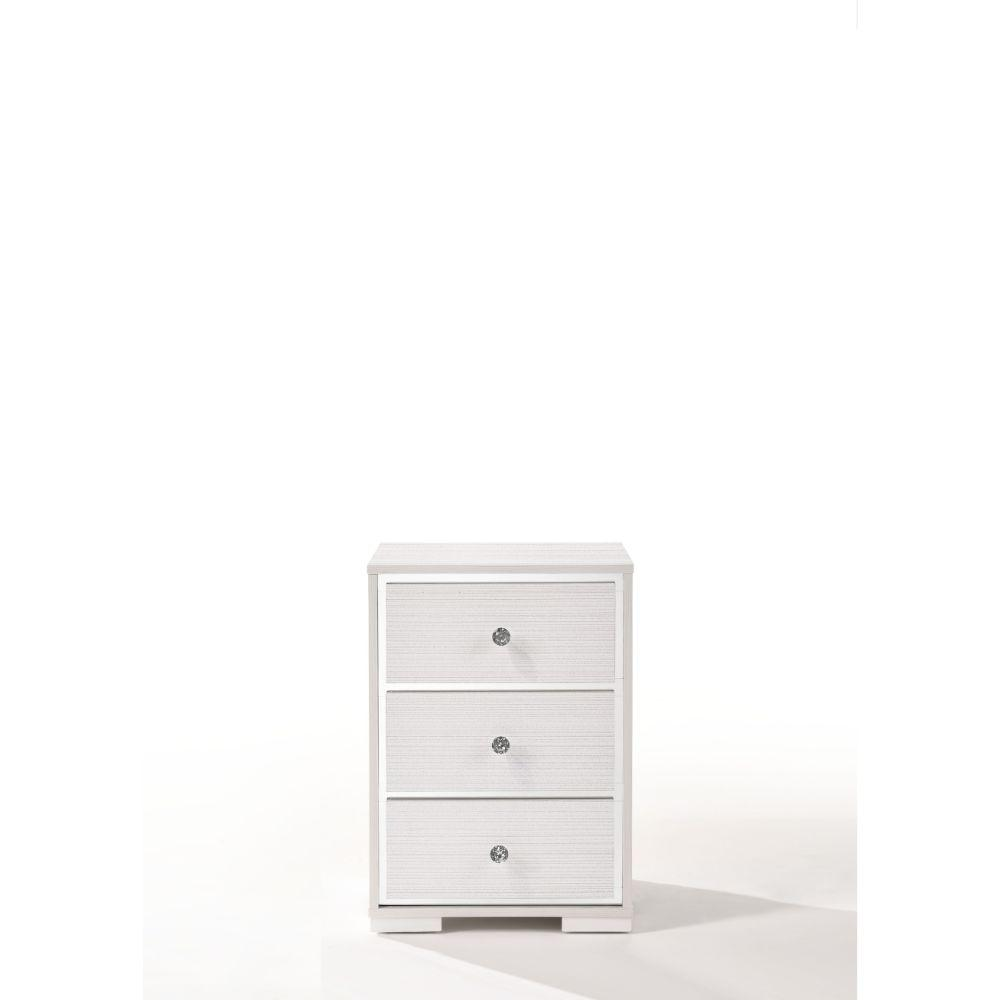 "Amelia Wood, Veneer (Paper), and Engineered Wood Nightstand, Cream 25"" X 15"" X 18"""