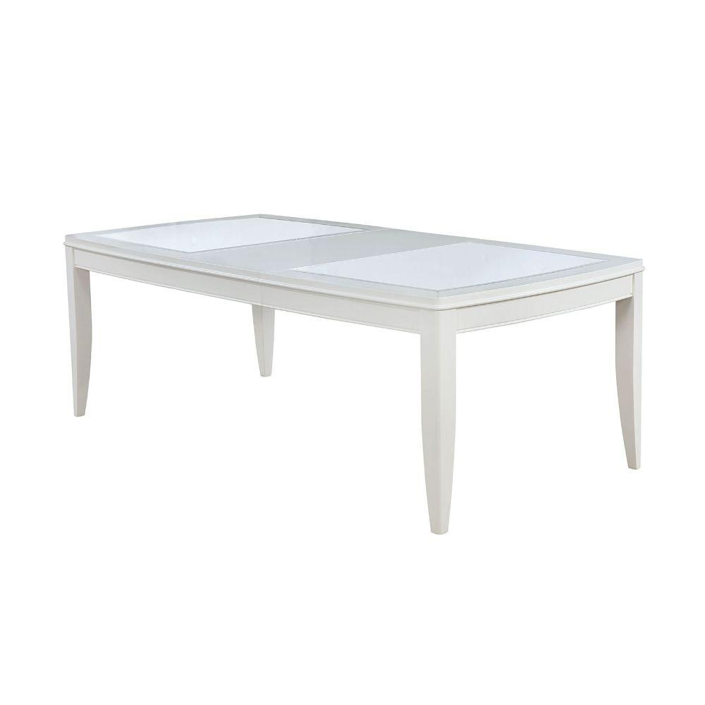 Breanna Appealing Dining Table With Beveled Mirror Insert, White, Wooden And Glass