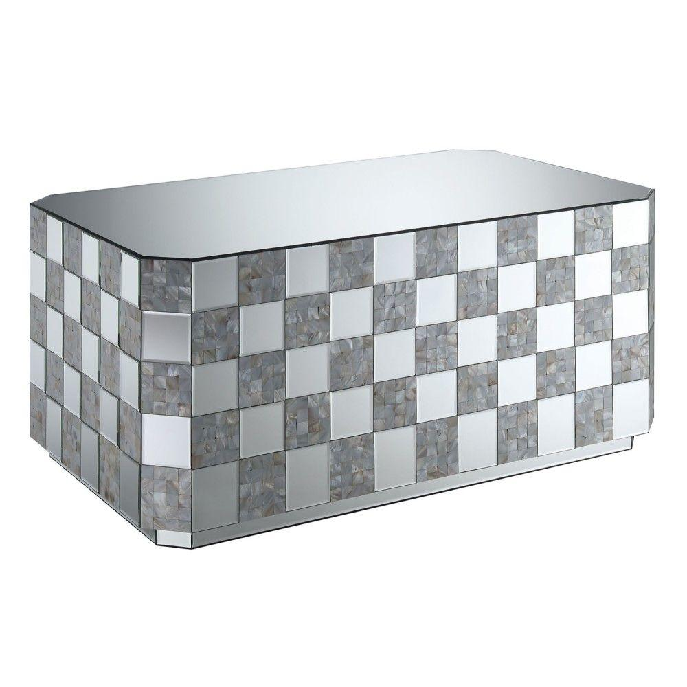 Janelle Contemporary Style Mirrored Coffee Table with Checkered Base and Glass Top, Silver