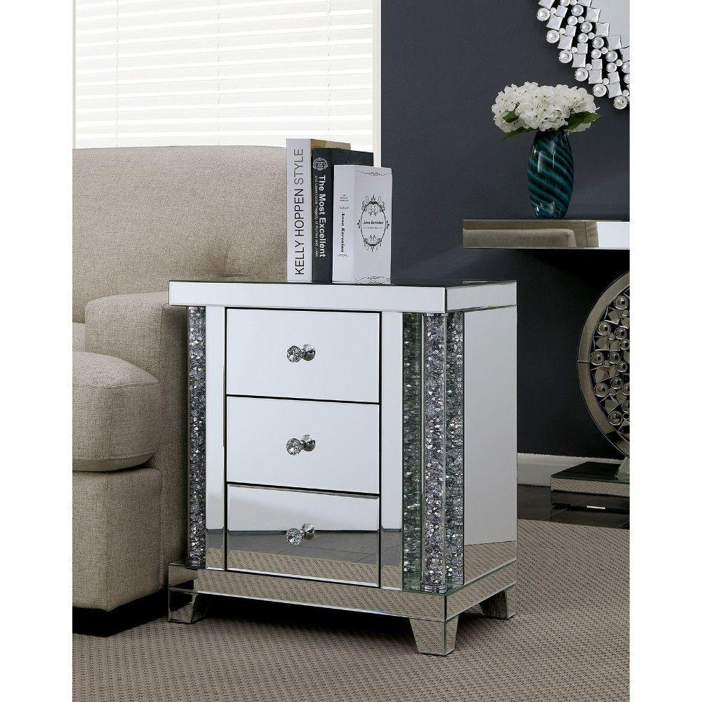 Karen Acrylic Three Drawer Side Table with Mirror Panels and Diamond Shape Knobs, Silver