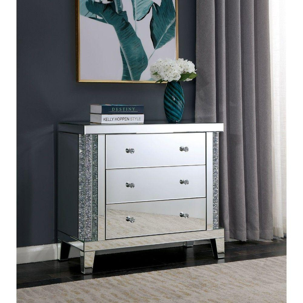 Adeline Acrylic Three Drawer Side Table with Mirror Panels and Double Diamond Shape Knobs, Silver