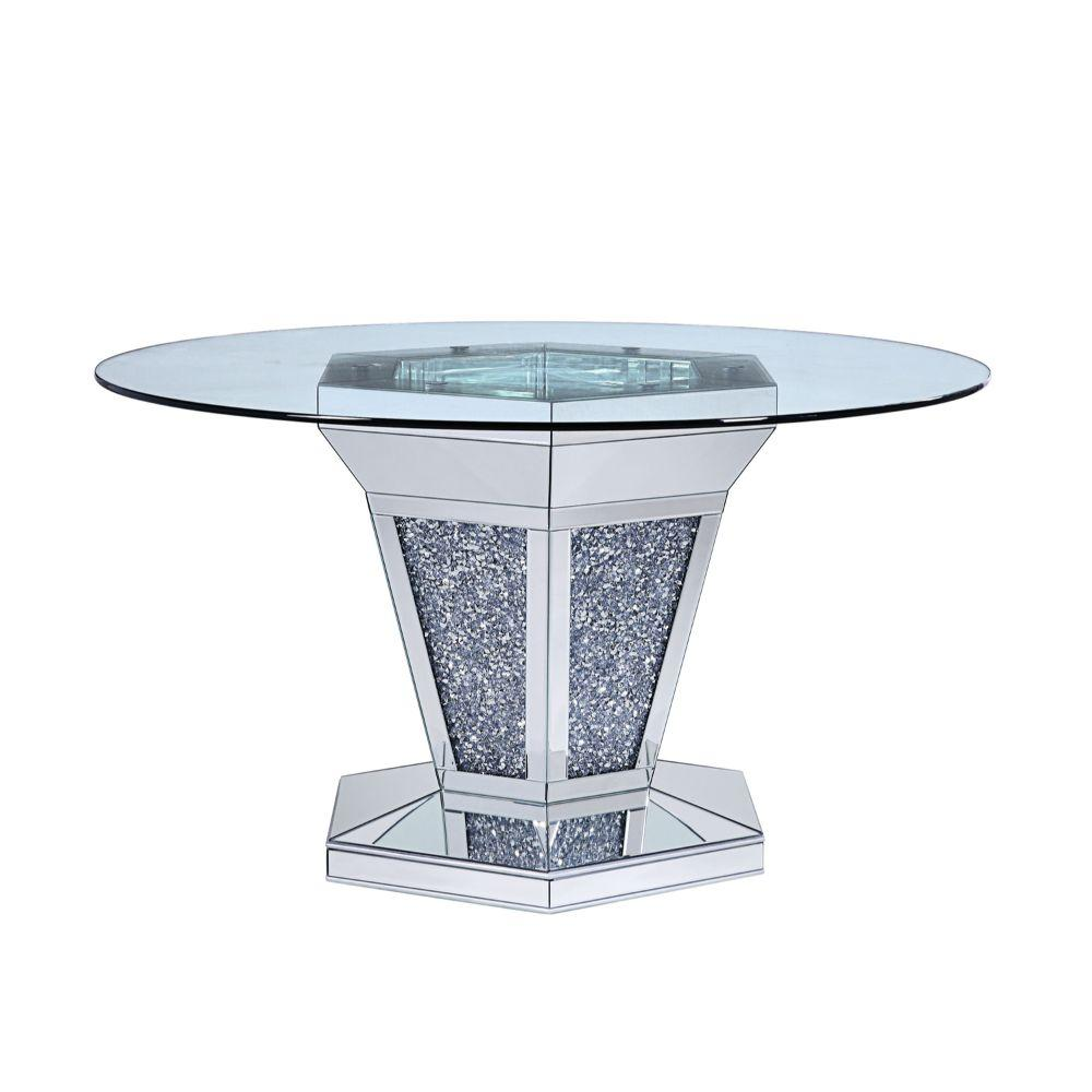 Viviana Faux Crystals and Mirror Inlaid Wooden Dining Table, Silver and Clear