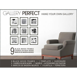 Gallery Perfect 9-Piece Square Frame Set, Black