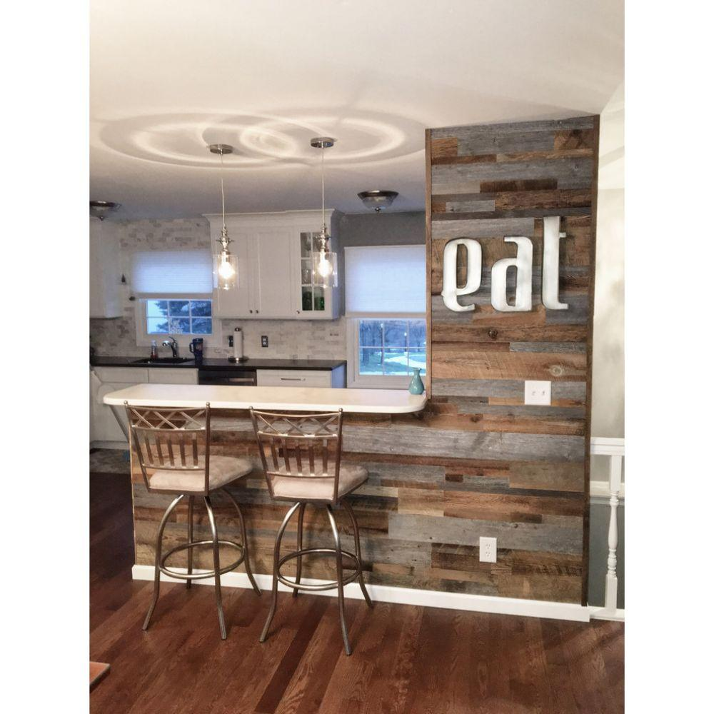 Reclaimed Wood Wall Paneling, Brown and Gray, 20 sq. ft.