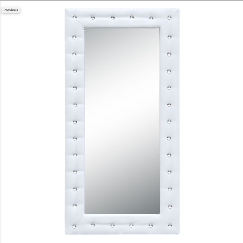Arleen Tufted Mirror 46, White