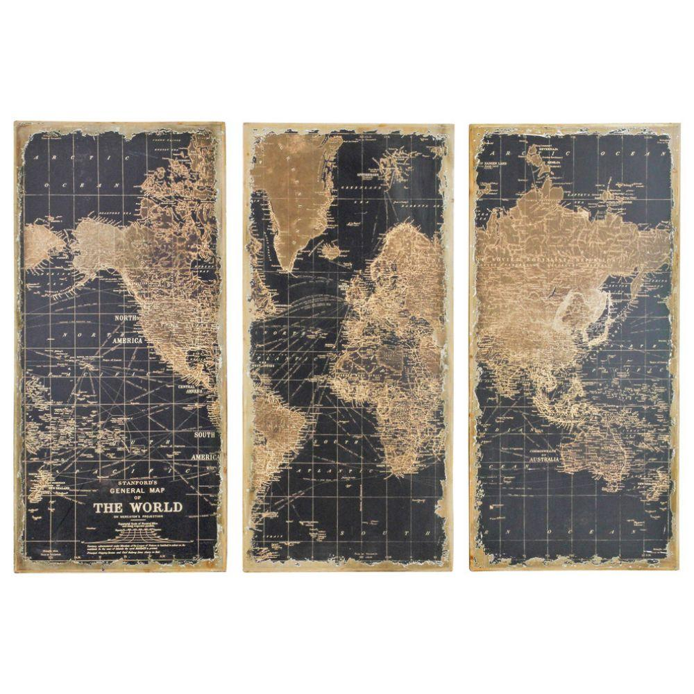 Stanford World Map Wall Panels, Set of 3