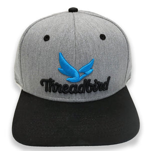 'Threadbird Logo' Grey and Black Flat Bill