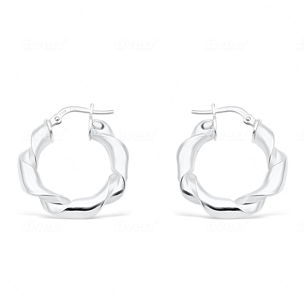 Twist and shout silver hoops - Little gem - Ayu House