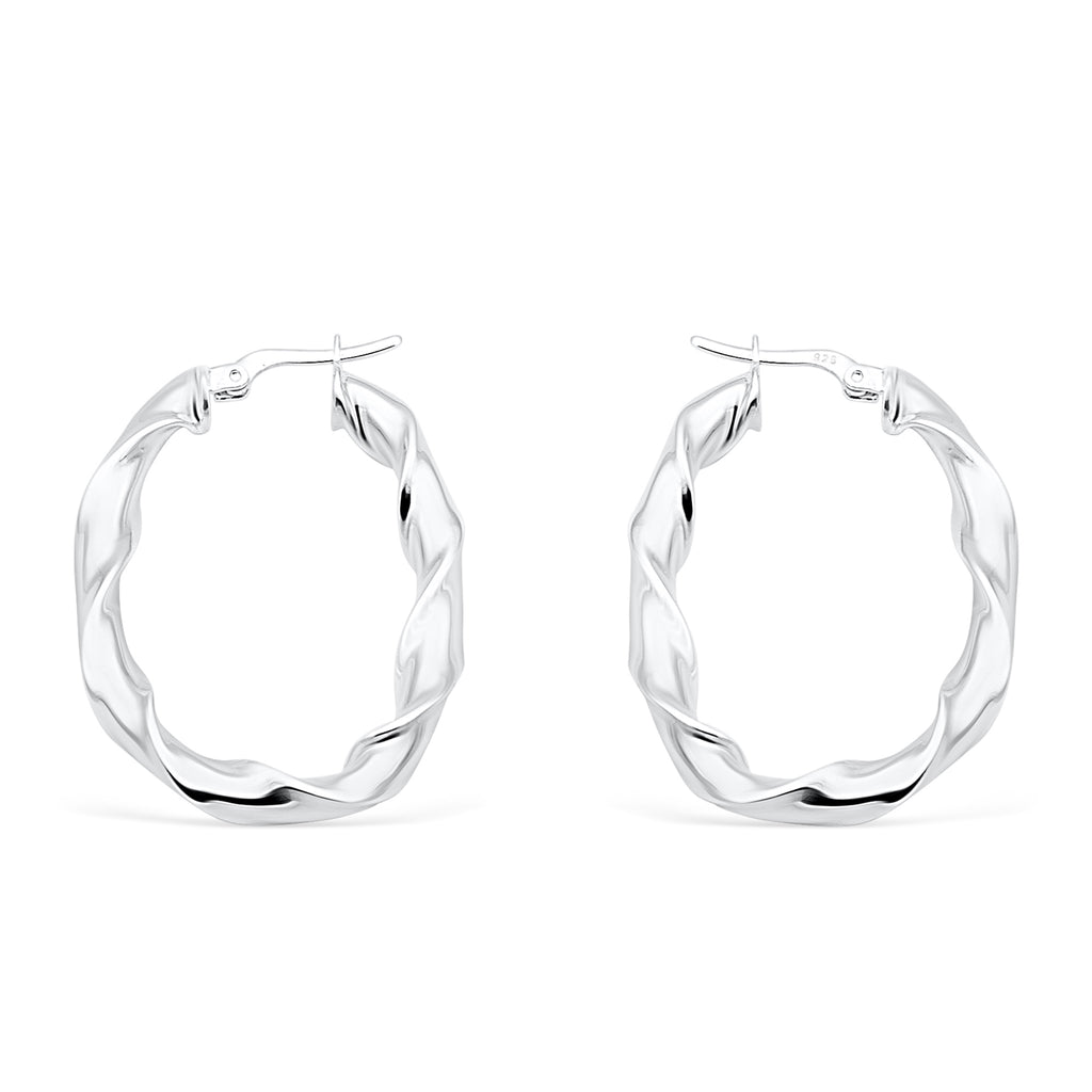 Twist and shout silver earrings - Rounded rectangle - Ayu House