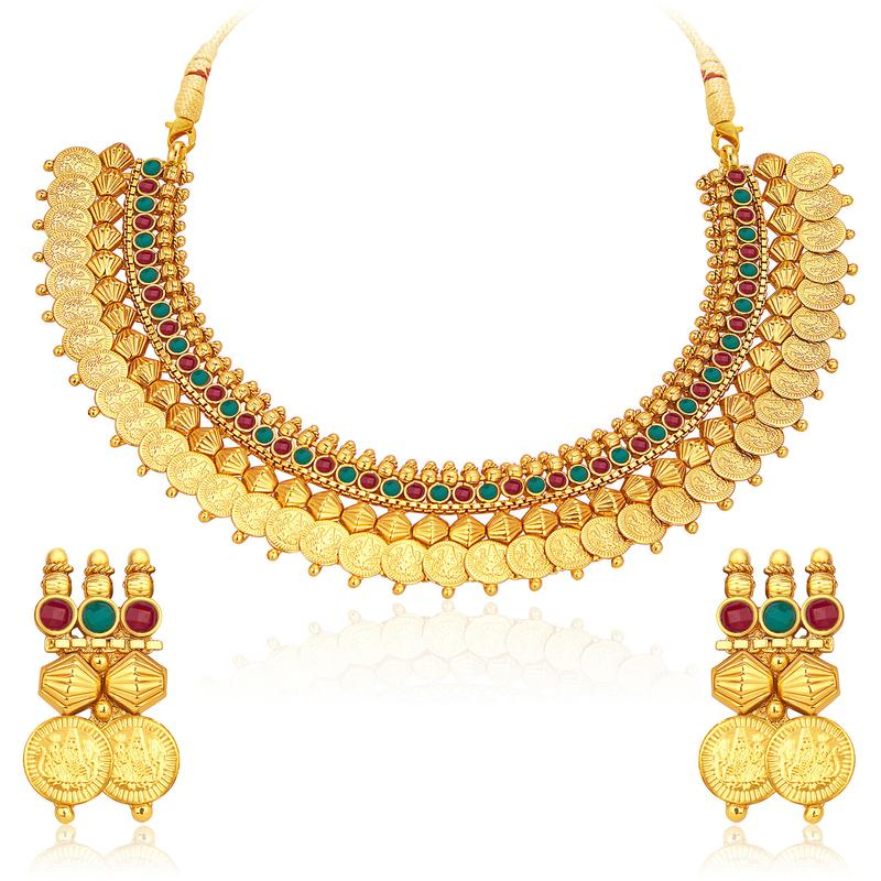 Stylish Gold Plated Temple Jewellery Coin Necklace Set