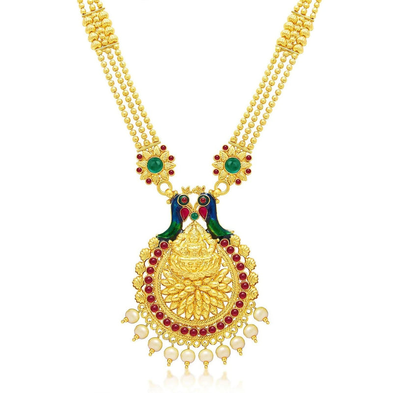 Designer Laxmi Temple Peacock Gold Plated Necklace Set