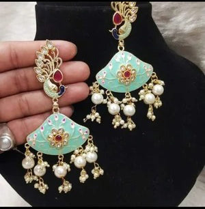 Fashion Forward Sleek Meenakari & Pearl Earrings