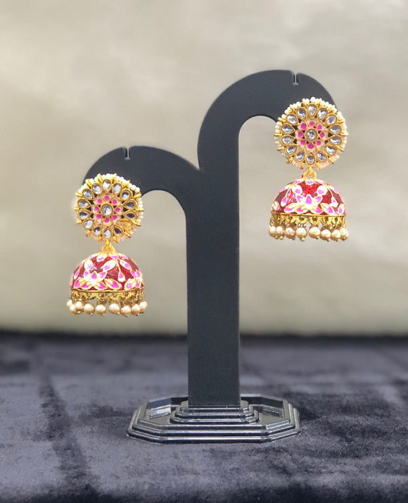 Rubans Gold Plated Traditional Indian Jhumka Earrings-FASHION KIDA-Fashion Kida
