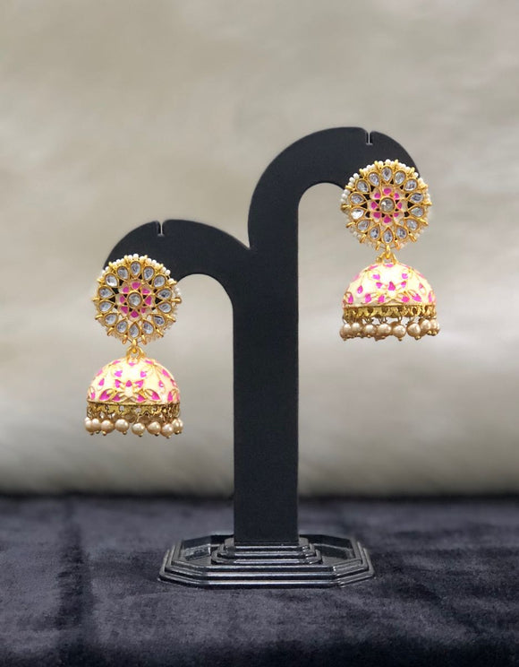 Pink Dotted Pearl Meena Earrings-FASHION KIDA-Fashion Kida