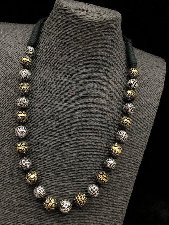 Threaded Black Beaded Necklace