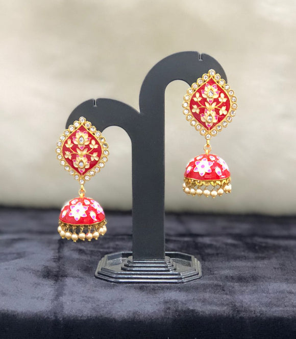 Ethnic Kundan Stone Gold Plated Pearl Beaded Earrings-Fashion Kida