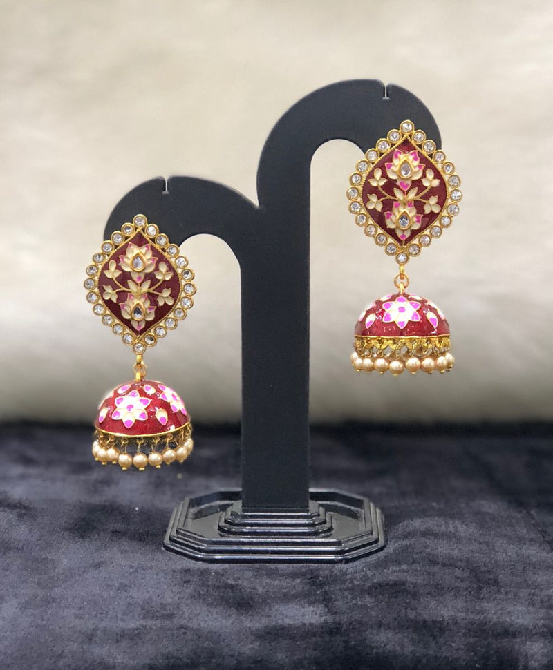 Maroon Pearl Meena Stone Jhumka Kundan Earrings-FASHION KIDA-Fashion Kida