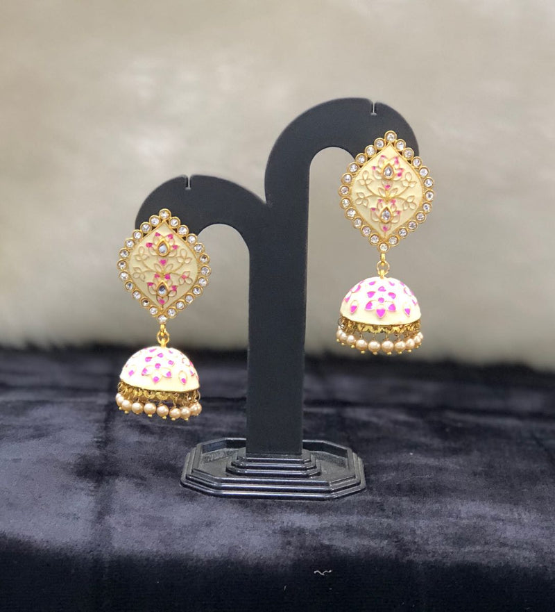 Floral White Meenakari Kundan Earrings-FASHION KIDA-Fashion Kida
