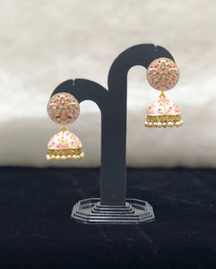 Off White Pink Dotted Kundan Meena Earrings-FASHION KIDA-Fashion Kida