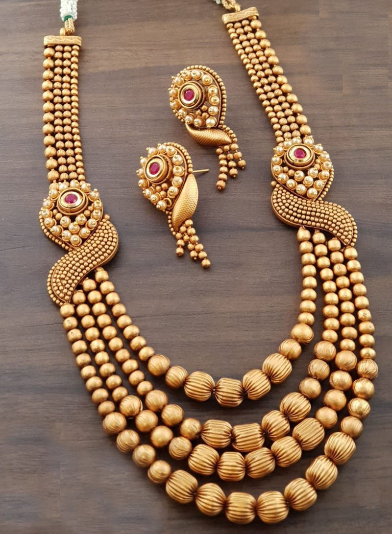Classic Gold Plated Long Necklace Set