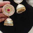 Bold Shimmering Meenakari & Pearl Earrings
