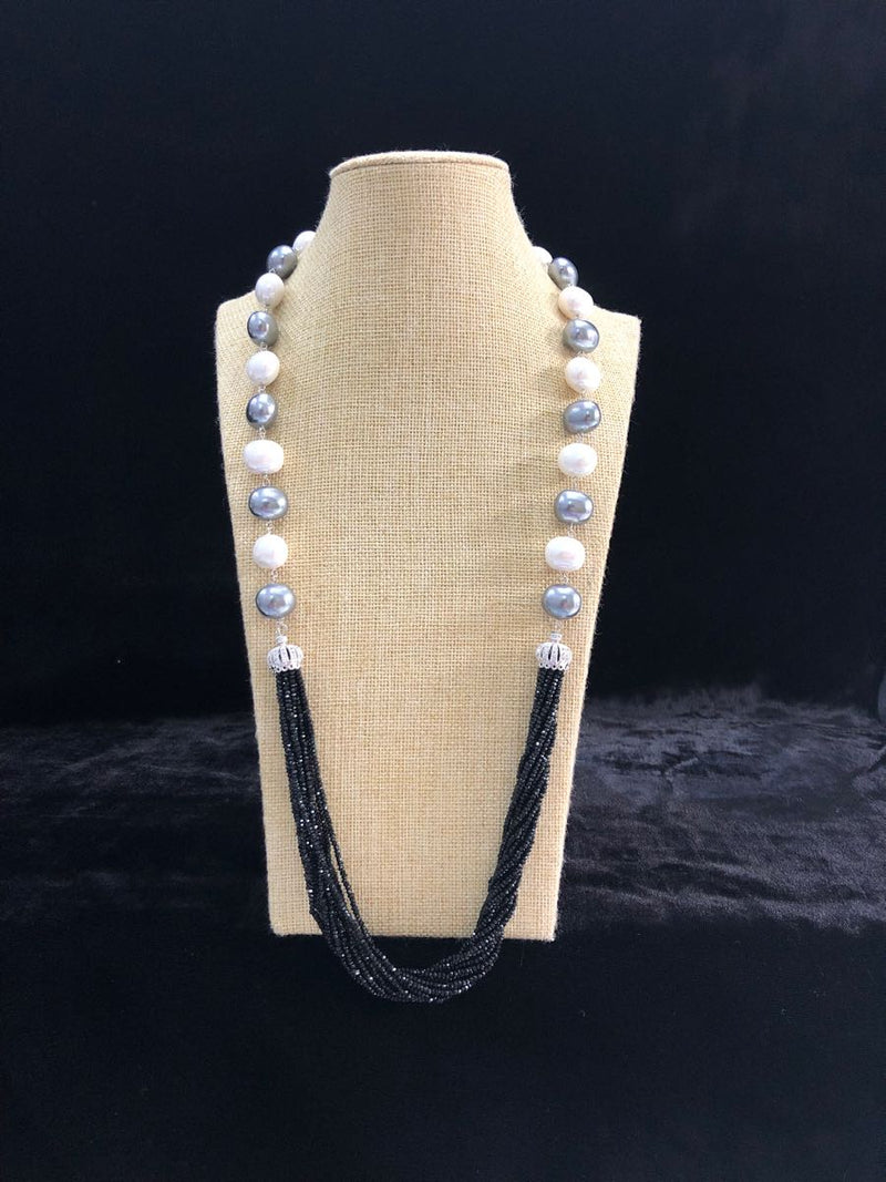 Silver and White Shell Pearl Crystal Beaded Necklace-FASHION KIDA-Fashion Kida