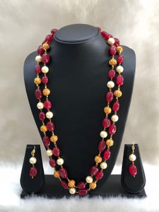 Two Stranded Gemstone and Pearl Gold Beaded Necklace Set-FASHION KIDA-Fashion Kida