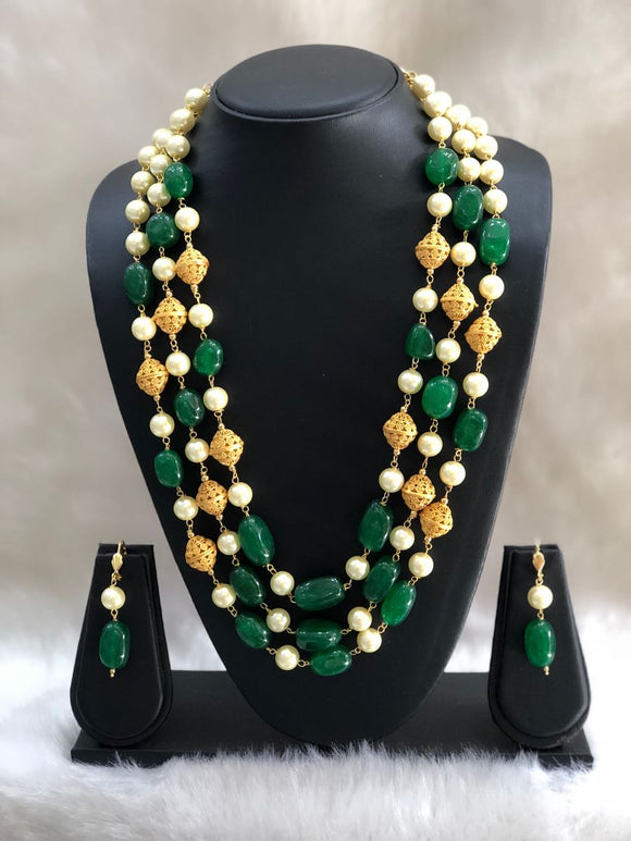 Three Stranded Green Beaded Pearl Gold Beaded Neckalce-FASHION KIDA-Fashion Kida