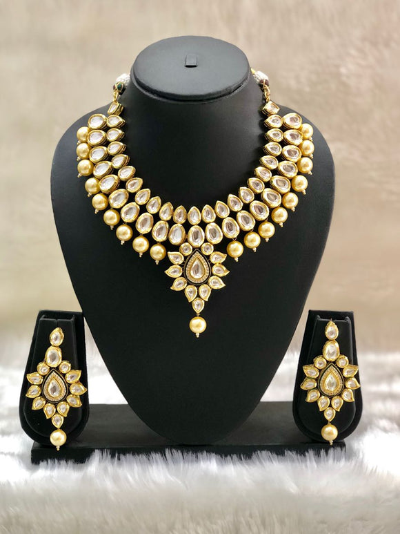 Uncut Diamond Kundan Pachi Necklace Set-FASHION KIDA-Fashion Kida