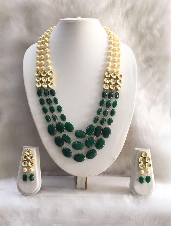 Ethnic Green Gemstone Necklace Set-Fashion Kida