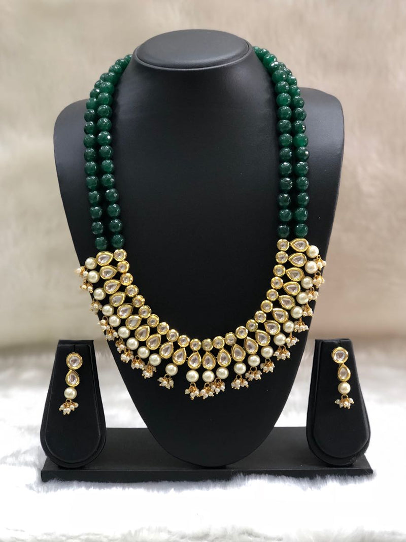 Two Stranded Green Jade Kundan Stone Necklace Set-FASHION KIDA-Fashion Kida