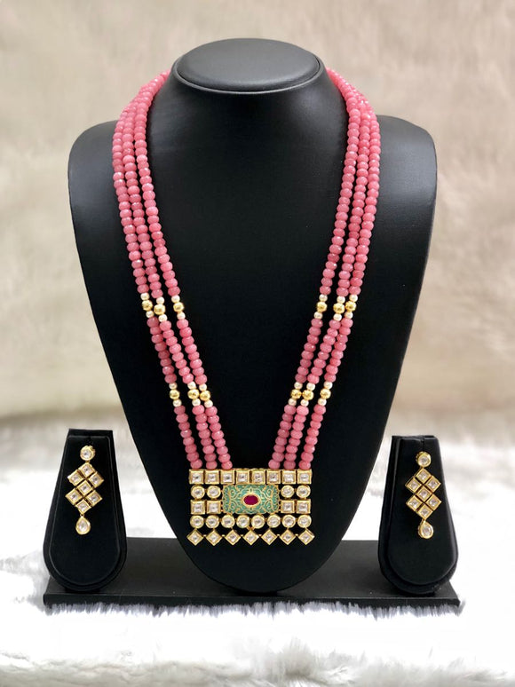 Gorgeous Pink Kundan Pendant Necklace Set-FASHION KIDA-Fashion Kida