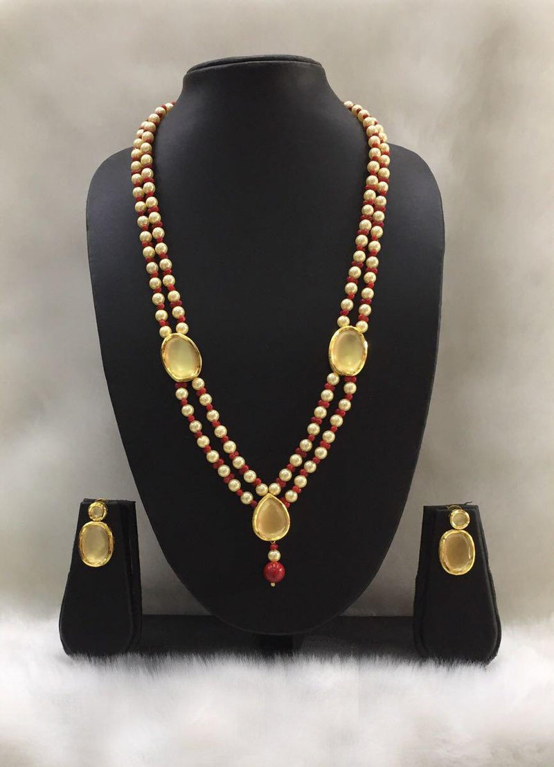 Two line Gold Plated Pearl Necklace-FASHION KIDA-Fashion Kida
