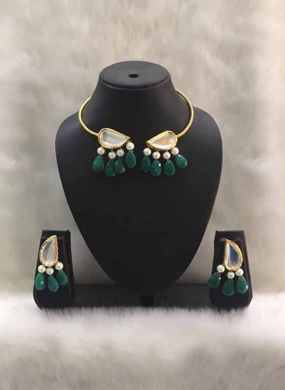 Tear Drop Green and Gold Choker Necklace Set-Fashion Kida